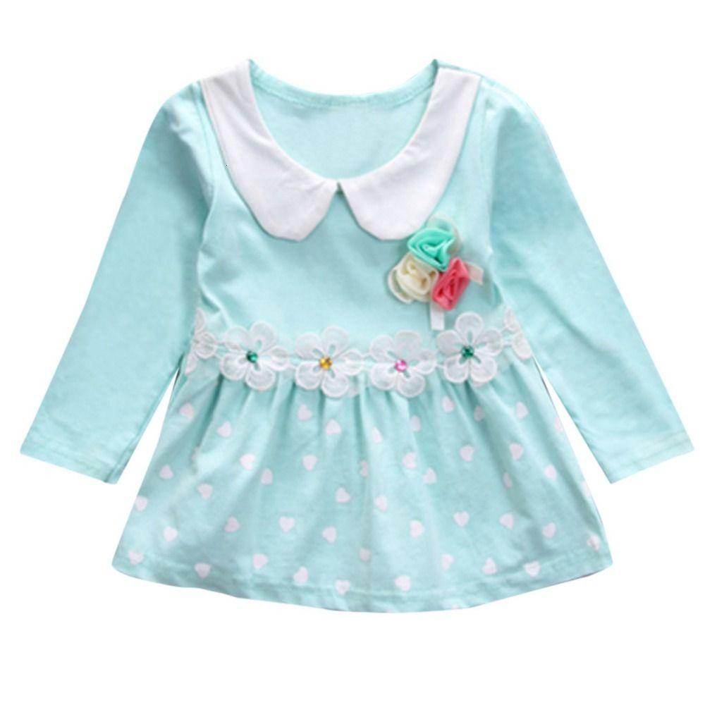 Toddler Kid Baby Girl Long Sleeve Floral Polka Dots Party Princess Dress Tops