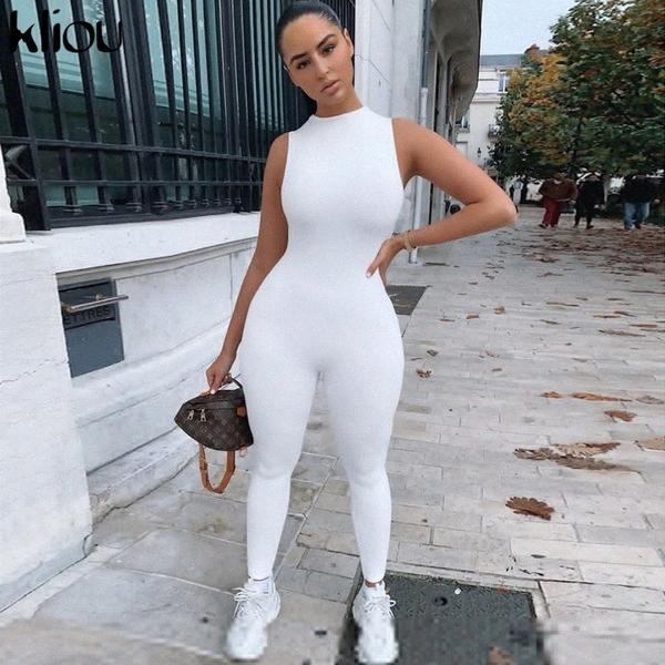 2020 2020 Neue Jumpsuit Frauen Elastic Hight beiläufige Eignung Sporty Strampler Ärmel Zipper Active dünner Sommer Outfit pXo1 #
