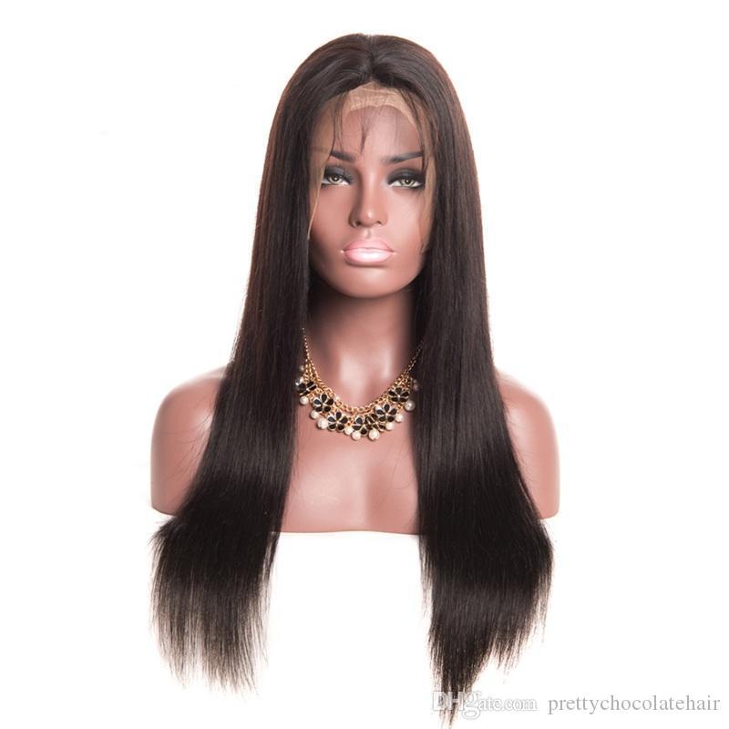 150 الكثافة 13x6 البرازيلي العذراء حريري مستقيم الدانتيل الجبهة غلويليس مع الإنسان طفل الشعر طويل الباروكات