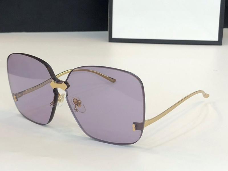 0352 Солнцезащитные очки для женщин Дизайнерские Модные солнцезащитные очки Wrap Sunglass бескаркасных покрытие Зеркало объектива углеродного волокна Ноги Лето Стиль