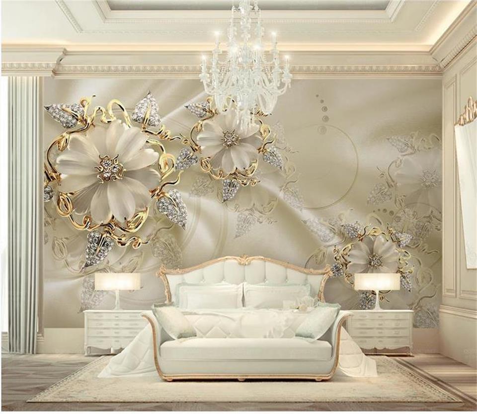 coutume taille 3d photo papier peint salon peinture murale bijoux d'or fleur photo européenne sofa fond TV murale papier peint autocollant non-tissé