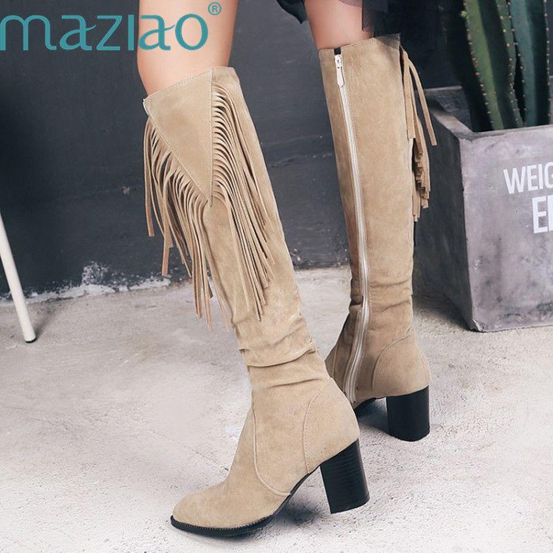 Artı boyutu 34-45 Püskül Boots Kadınlar Flock Pileli Diz Yüksek Fringe Lady Ayakkabı Kış Blok Yüksek Topuklar Binme Boots MAZIAO