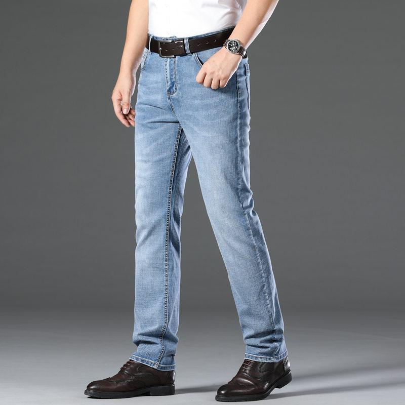 Alta Qualidade Sólidos Jeans Color Mens Fino Hetero Youth Business Casual Calças Male Plus Size Slim Fit Denim Trousers MX200814