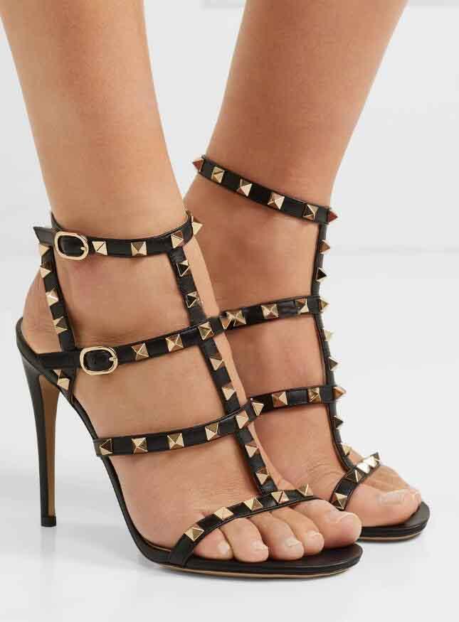 20S Luxey été femme Sandales d'été Rockstuds Stiletto Heels Rivets Strappy dames Sandales Gladiator Luxey Mode Voyage Sandalias