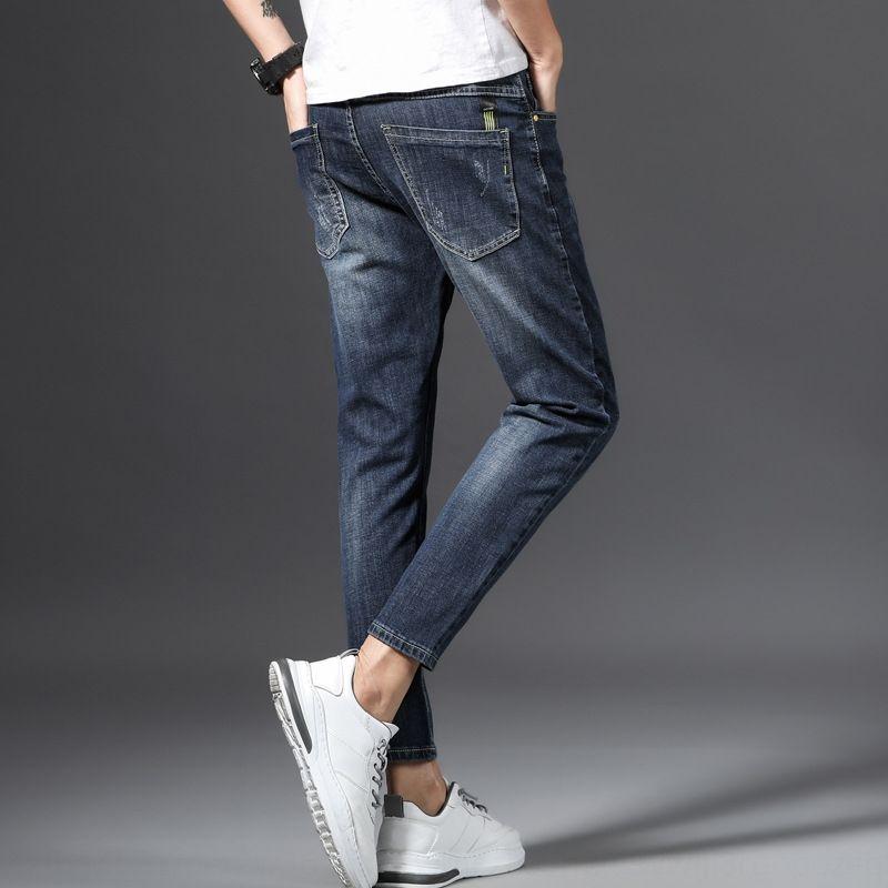 r5QYx Herren-Sommer-Jeans 2020 Denim Herren-koreanische Art und Weise Slim Fit Jeans und neue Hosen dünne Hosen Kleidung strecken