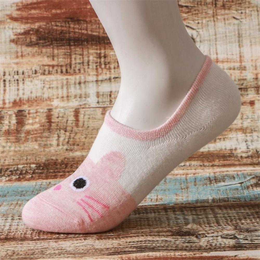 invisível desenhos animados do gato cinto de silicone de algodão meias femininas de moda respirável antiderrapante invisível socksboat Meias Sockssilicone de Mulheres dos desenhos animados