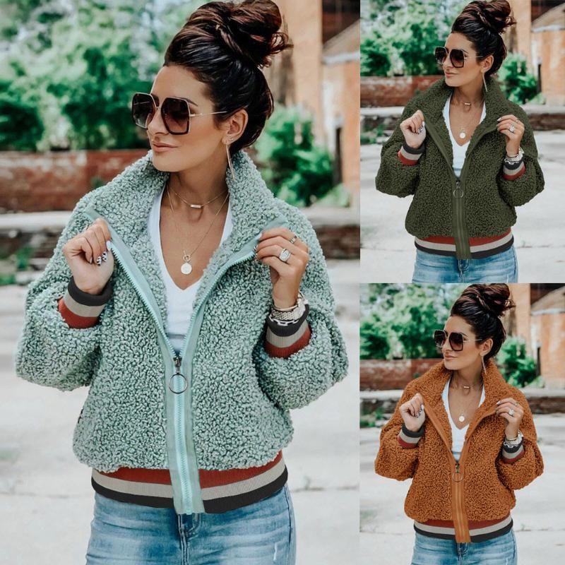 Mulheres Aqueça Zipper bolsos do casaco de flanela manga comprida moleton Outwear