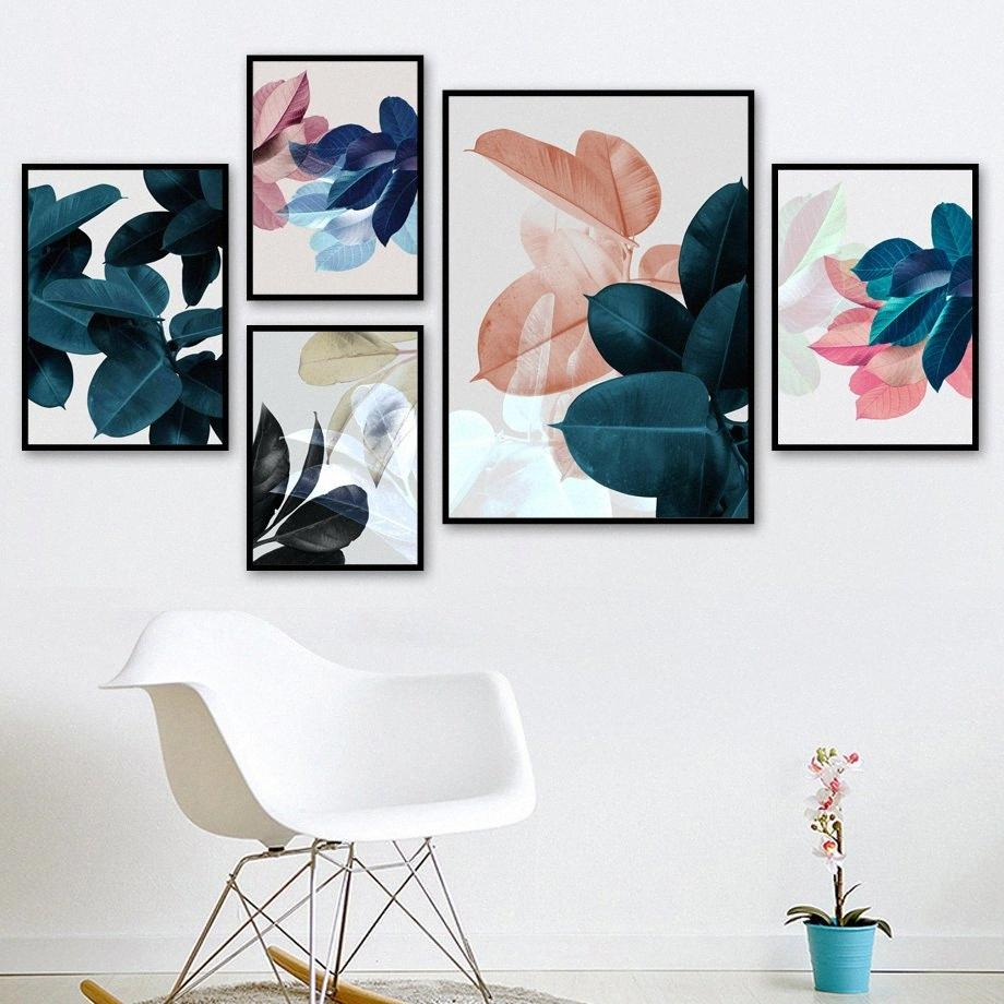 Rosa Verde Big Folha Tropical Abstract Wall Art pintura da lona Posters nórdicos e Prints Pictures Para Living Room Decor 18xl #
