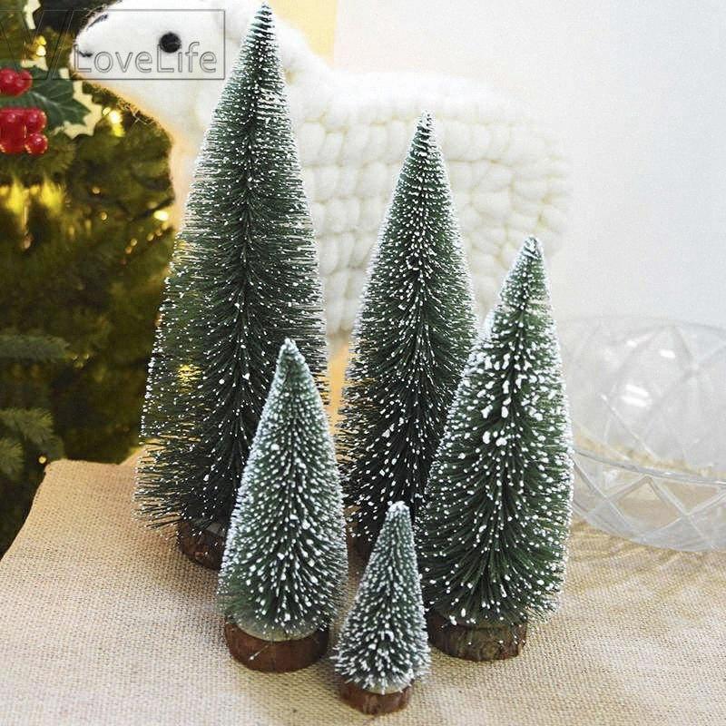 4PCS bricolage 4Sizes Arbre de Noël des petits arbres de pin placé dans le bureau pour la maison Décoration de fête de Noël pour enfants Cadeaux Fournitures 1Z2K #