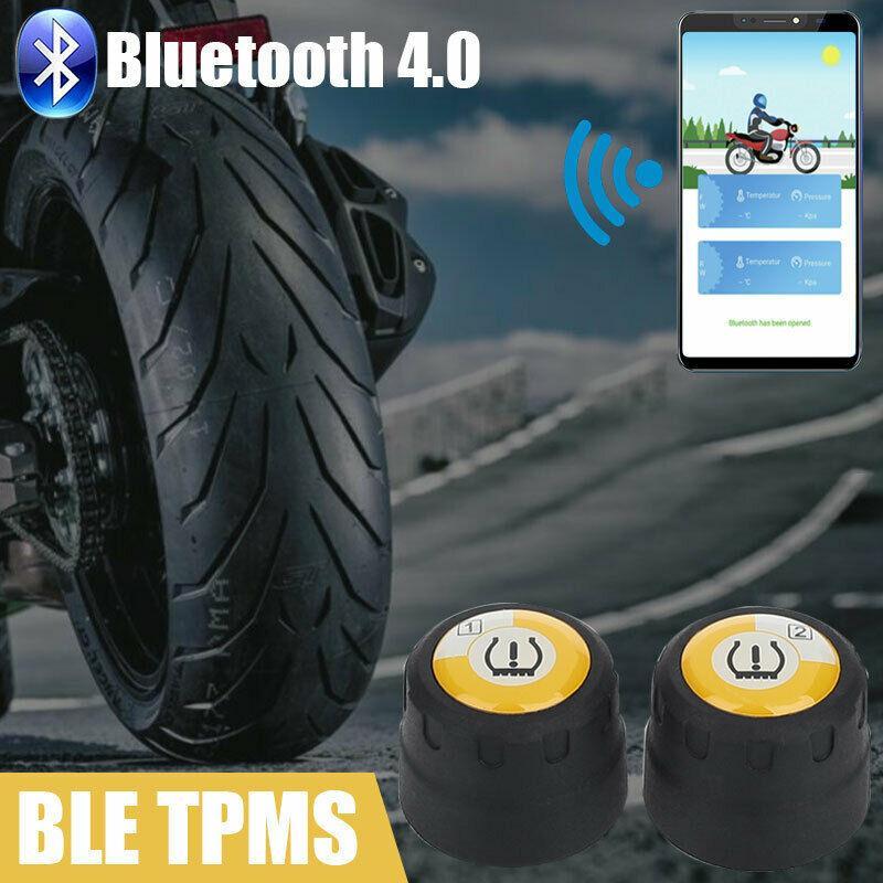 Bluetooth de la motocicleta TPMS Andriod IOS presión de los neumáticos sistema para Monitor 2 Sensores