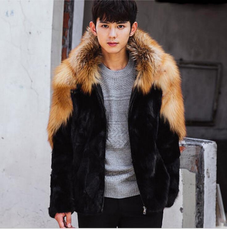 Осень Faux норок кожа зимней куртки мужских сгущать прогреть с капюшоном меха кожаного пальто мужчин тонких курток jaqueta де Couro черного S - 5XL