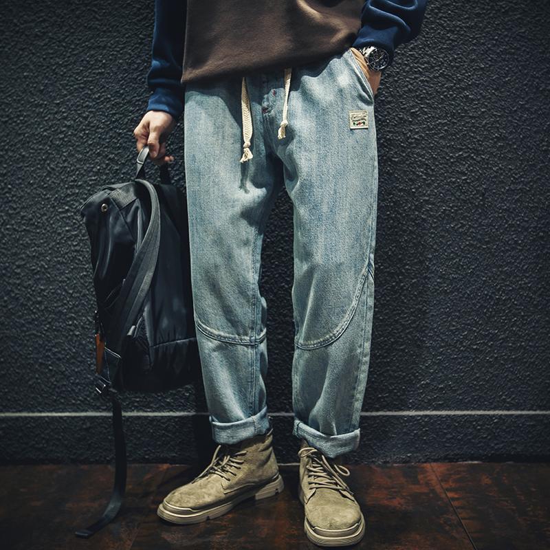 otoño e invierno pantalones anchos rectos de los hombres Jeans gastados pantalones de costura retro más los pantalones del harem del tamaño de moda del todo-fósforo
