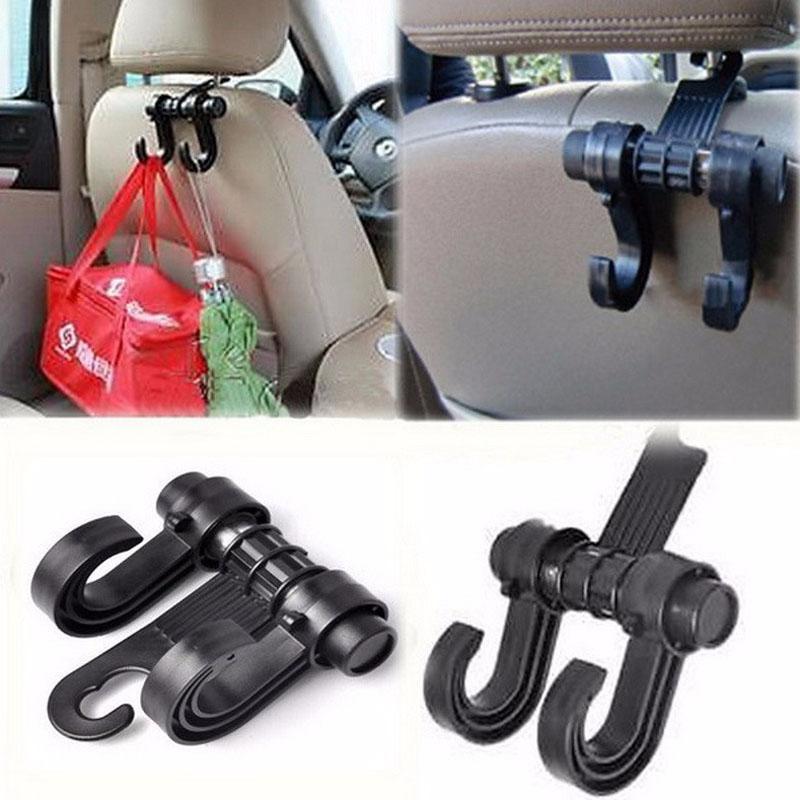 Preto Automobile Car Back Seat gancho duplo Multipurpose Vehicle Sacos Hooks Auto Suprimentos Dentro organizador de armazenamento Acessórios