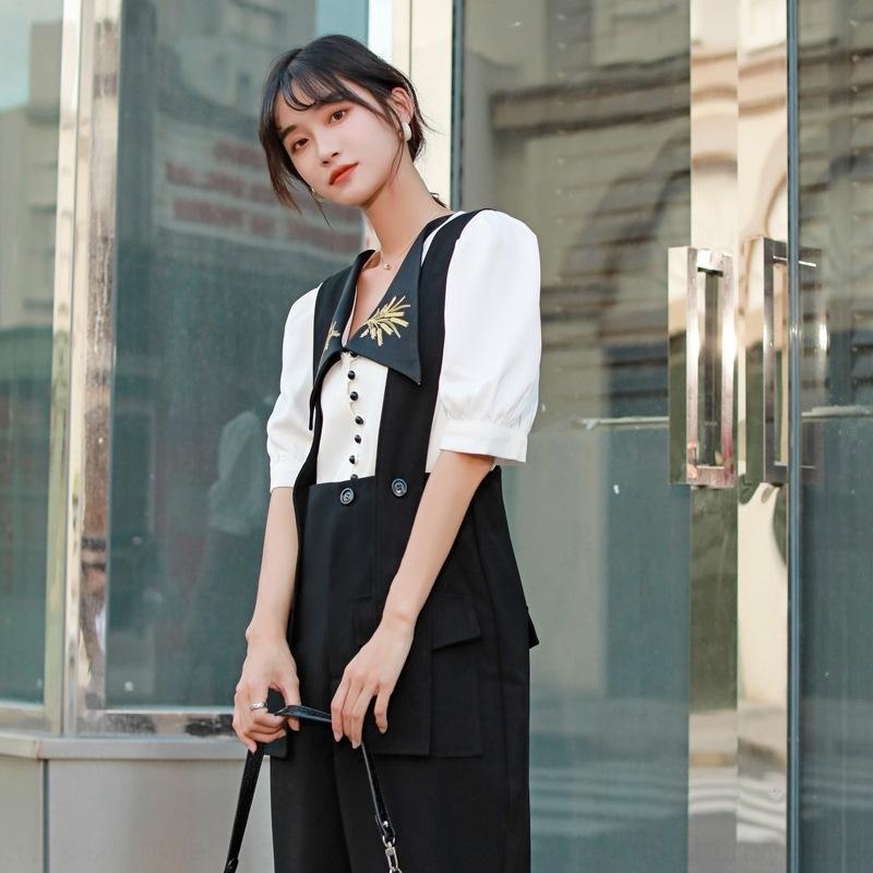 adWdD q2cmV 2020 Летний новый женский цвет рубашки шить вышитые персонализированные пузырь рукав белую рубашку дизайн чувство белый контраст