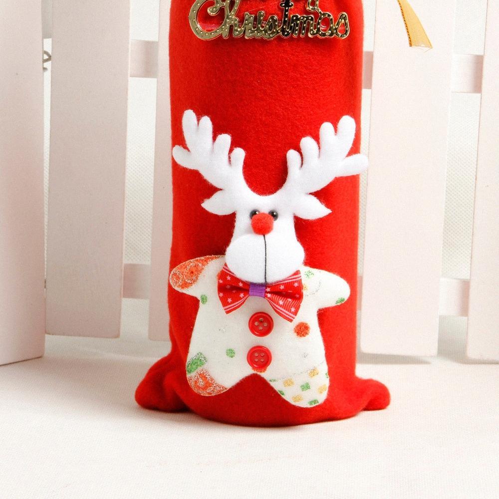Vino Rosso Borse copertura della bottiglia decorazione domestica del partito Babbo Natale Pacchetto di Natale Nuovo # 25 # 7OfU