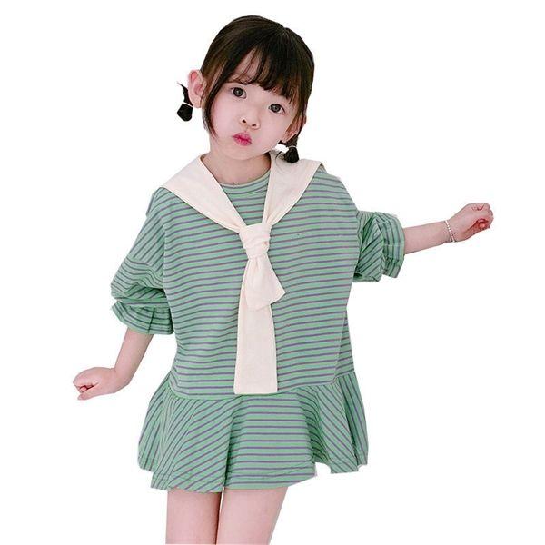 Kinder Kleider beiläufige lose Streifen Revers Splice Säuglingskleid Cotton Ruffle Kleinkind-Baby-Bekleidung Glockenärmel Mädchen 2019 0923