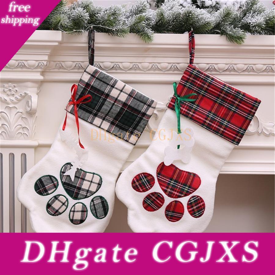 Pet Weihnachtsstrumpf Plaid Geschenk-Sack für Katzen-Kamin-Weihnachtsbaum-hängende Ornamente Anhänger Hundepfote Stocking Santa Sack Jk1910