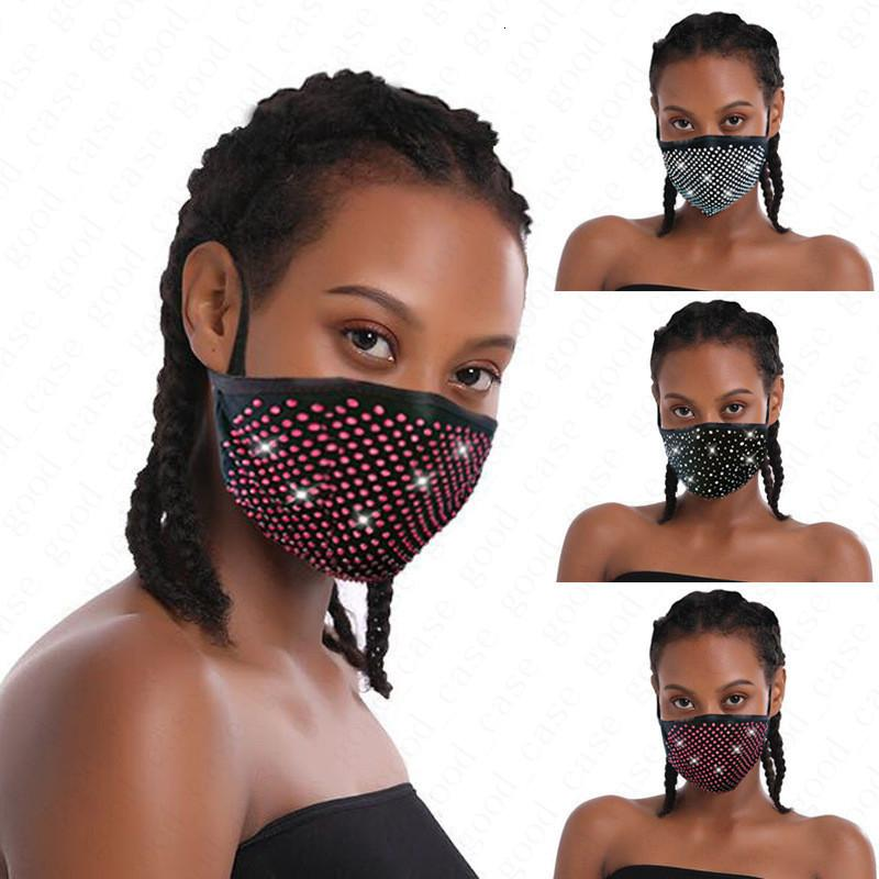 Reusable Fashion Diamond Bling Mask Washable Adult Care Shield Sunproof Drill Shiny Face Cover Mouth Masks Anti-dust Mouth-muffle D6816
