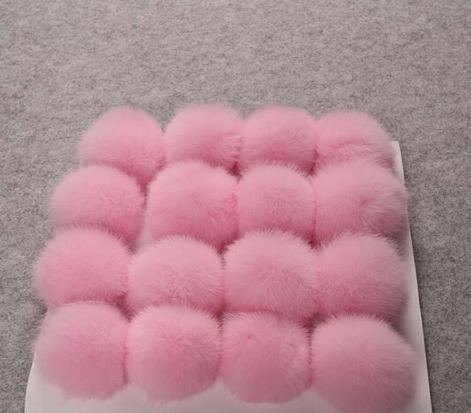 decoration 6cm fur balls real rabbit puff Pom Pom ball for cloth keychains hat, hat decoration fur ball Support customization