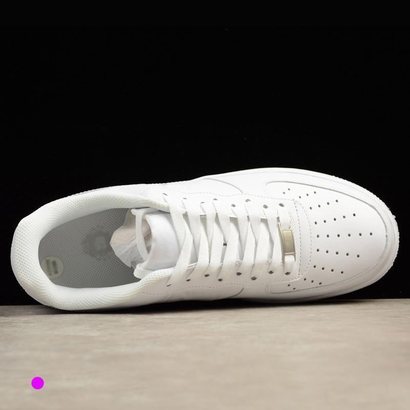 حار حذاء مصمم النساء الرجال لم 1 ارتفاع منخفض واحد 07 الأزياء الرياضية AF1 لوح التزلج أحذية كل أبيض