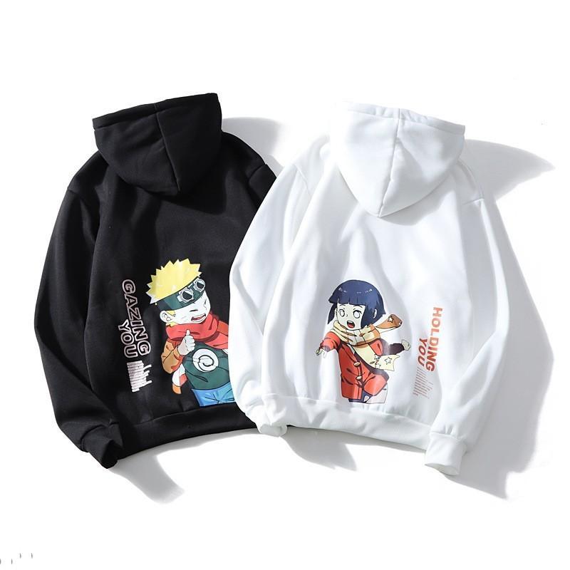 Casual Male con capucha streetwear de la moda de Harajuku Naruto Hinata unisex sudaderas desgaste Pareja japonesa animado Impreso Sudaderas CX200818