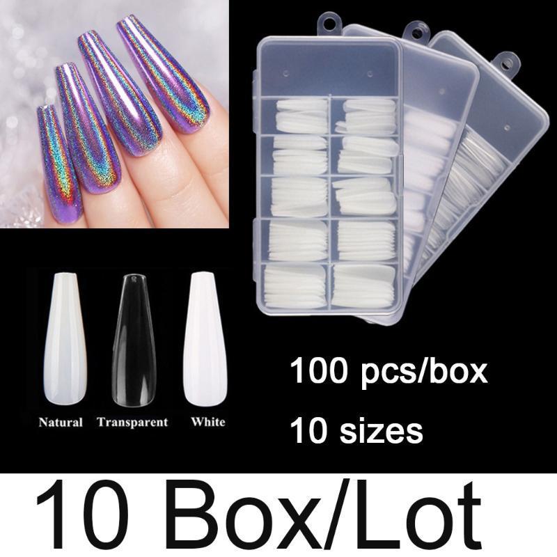 False Nails Wholesale 10 коробок на пакет длинный гроб для ногтей 100 штук / коробка размеры балерина