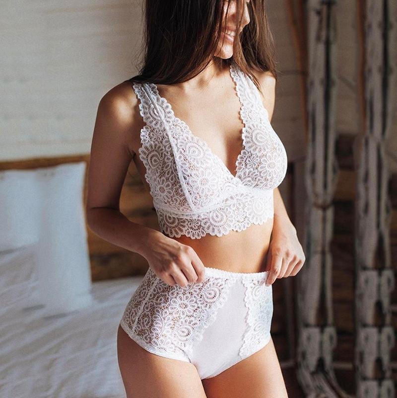 Empuje hacia arriba sin fisuras de encaje bordado erótica El sujetador de ropa interior sujetador conjunto de lencería