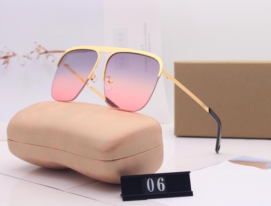 2021 Haute Qualité Demi-cadre de la moitié de lunettes de soleil rondes pour hommes, femmes, sport élégant pour hommes, lunettes d'or métallique