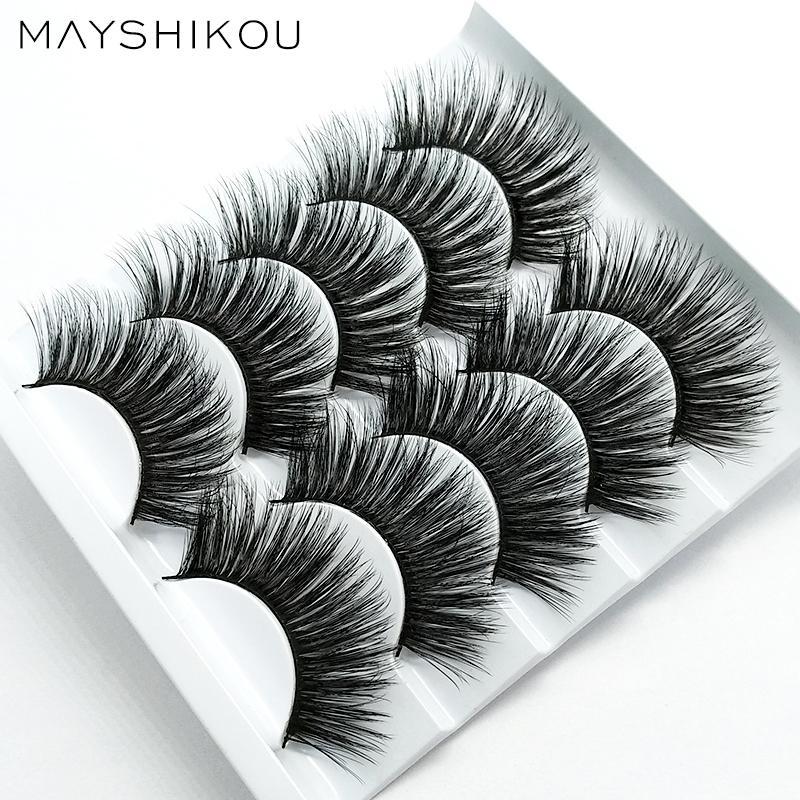MAYSHIKOU 3D 5Pairs falschen Wimpern Soft Natürlich / Dick Stil gefälschte Wimper-Verlängerungs-Verfassungs-Schönheits-Werkzeuge Faux Mink synthetisches Haar