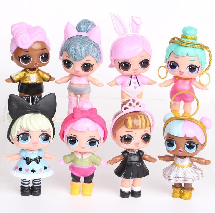 9CM LoL poupées avec biberon américain PVC Kawaii Jouets pour enfants Anime Action Figures réalistes poupées pour les filles Réincarné 8pcs / lot jouets pour enfants