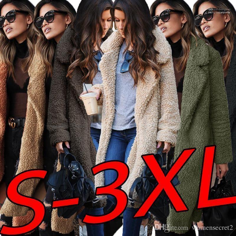 الربيع معطف طويل المرأة الستر الشتاء الخريف الصوفية اخفض الياقة معاطف بأكمام طويلة
