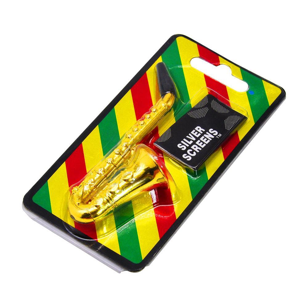 HORNET Tubi fumo di sigaretta durevole del metallo sassofono a forma di tubo di tabacco di colore dell'oro di pulizia della bocca Consigli Sniff