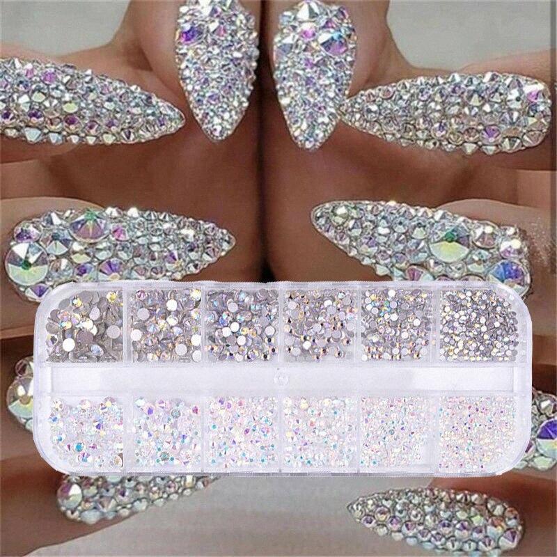 12 boîtes / set de bijou diamant strass cristal AB 3D paillettes beauté décoration nail art Cr4v #