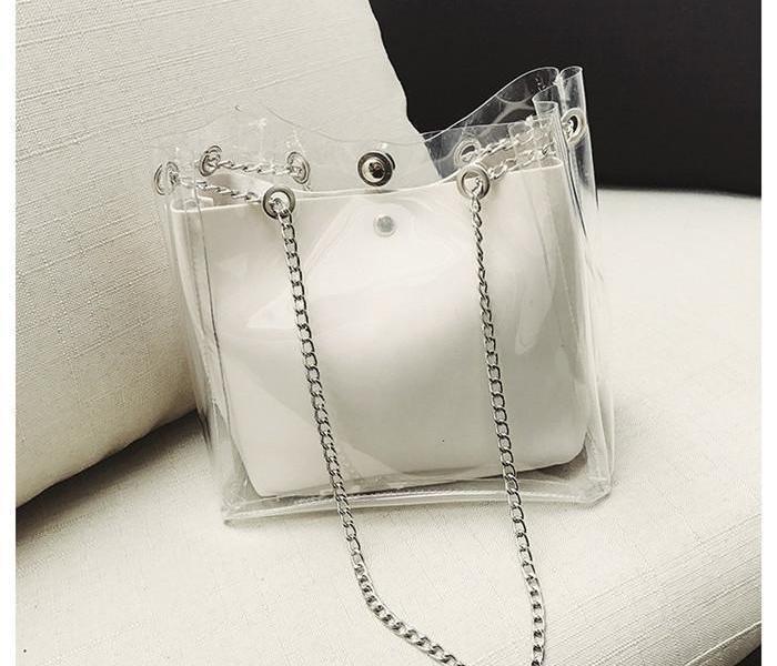 Tasche Mode für klare Tote Jelly Fashion02 PVC Eimer Transparente Frauen Handtasche Hot Design Schulter WJNOD