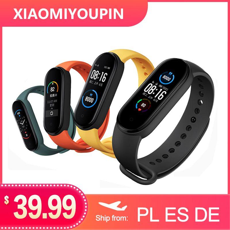 """Xiaomi Mi originale Band 5 Bracelet intelligent 1.1"""" AMOLED écran coloré de fréquence cardiaque Fitness Tracker Bluetooth 5.0 Miband5 étanche"""