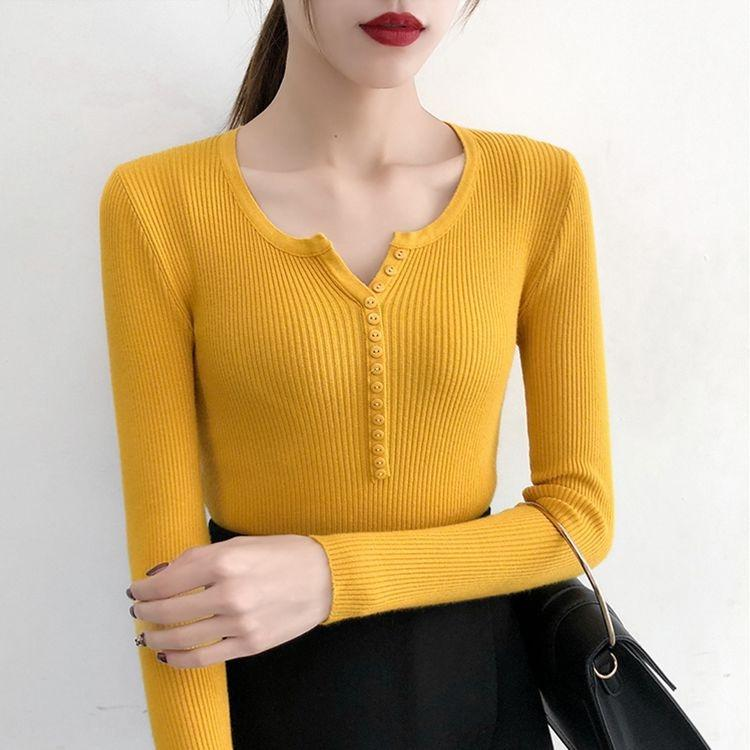 JYJyF 10 couleurs évidées automne fil pull femme pull à manches longues 2019 simple boutonnage polyvalent chemise minceur mince tricot de base
