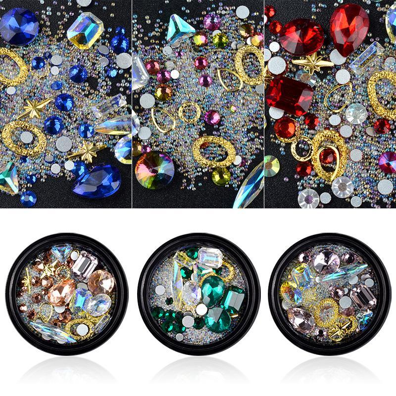 1 scatola / chiare macchiato rhinestone di vetro dei monili della miscela chiodo paillettes strass di chiodo di cristallo 3D chiodo lucido decorazione gemma