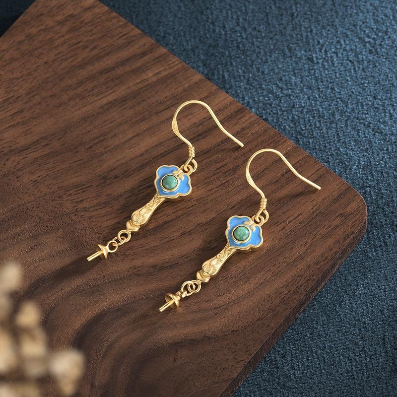 Rapide bijoux et boucles d'oreilles à la main Diy Retransmission en direct artisanat Népal antique imitation méthode main boucles d'oreilles bricolage bijoux colorés boucles d'oreille vide