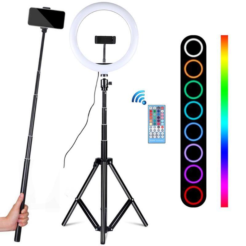 TikTok Youtube Video Lights için Tripod LED Halka Lambası Fotoğraf Stüdyosu ringlight ile Profesyonel 10 Inch RGB Selfie'nin Halka Işık