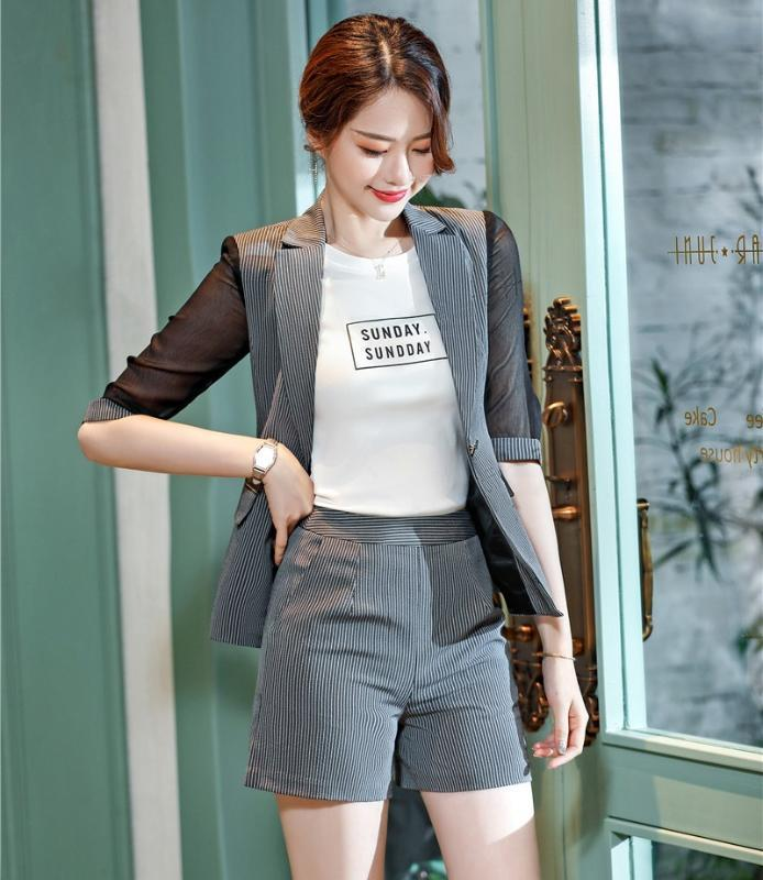 Fashion Ladies Grey Blazer Women Business Suits Two Piece Shorts and Jacket Sets Half Sleeve Styles