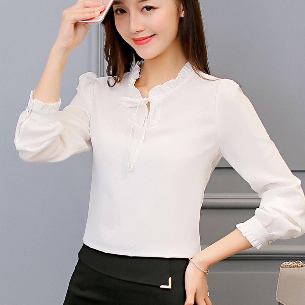 Caidaifei 2019 bahar yeni Kore tarzı şifon kadın uzun Üst gömlek kollu beyaz moda gömlek Gevşek Kadın üst JMXDE
