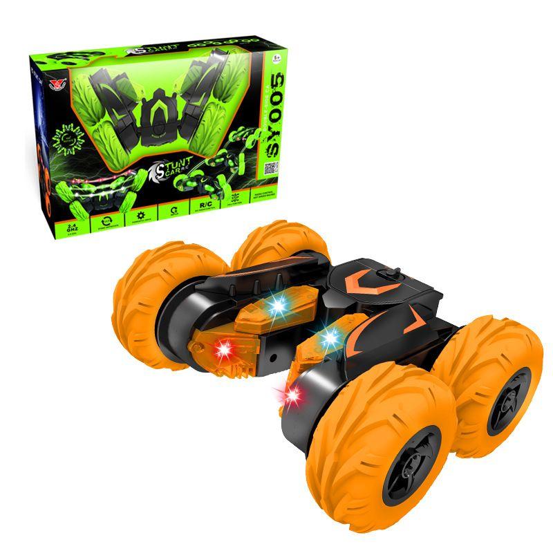 Fantasía doble cara vehículo de doble 360 ° luces campo a través escalada control remoto juguetes de regalo carro de descarga inalámbrica