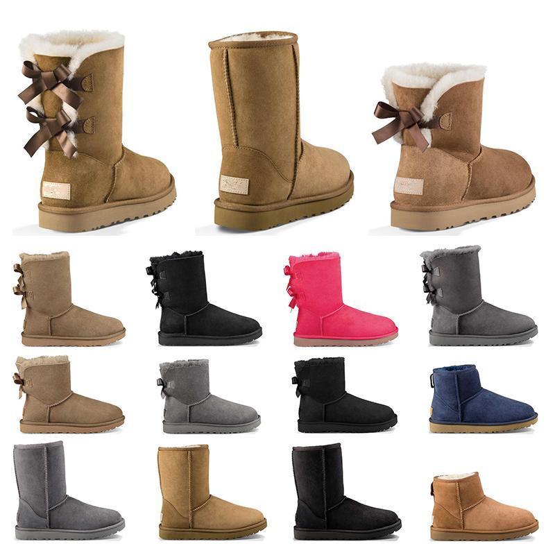 2020 VENTA CALIENTE nuevo de la manera clásica de Australia-botas bajas del invierno de cuero real Bailey nieve arco de arranque de Bailey Bowknot de las mujeres
