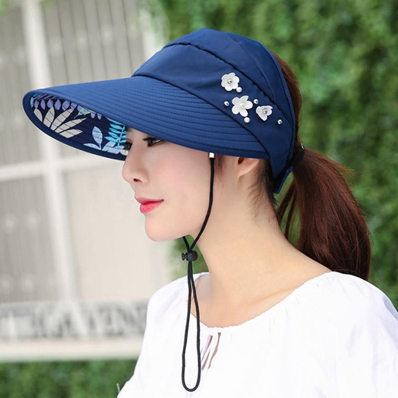 2020 Baskılı Güneş Şapka Büyük Brim Katlanabilir Güneş Koruma Üst Boncuk Dantel Yukarı Ayarlanabilir Toka Cap Kadın Hat boşaltın