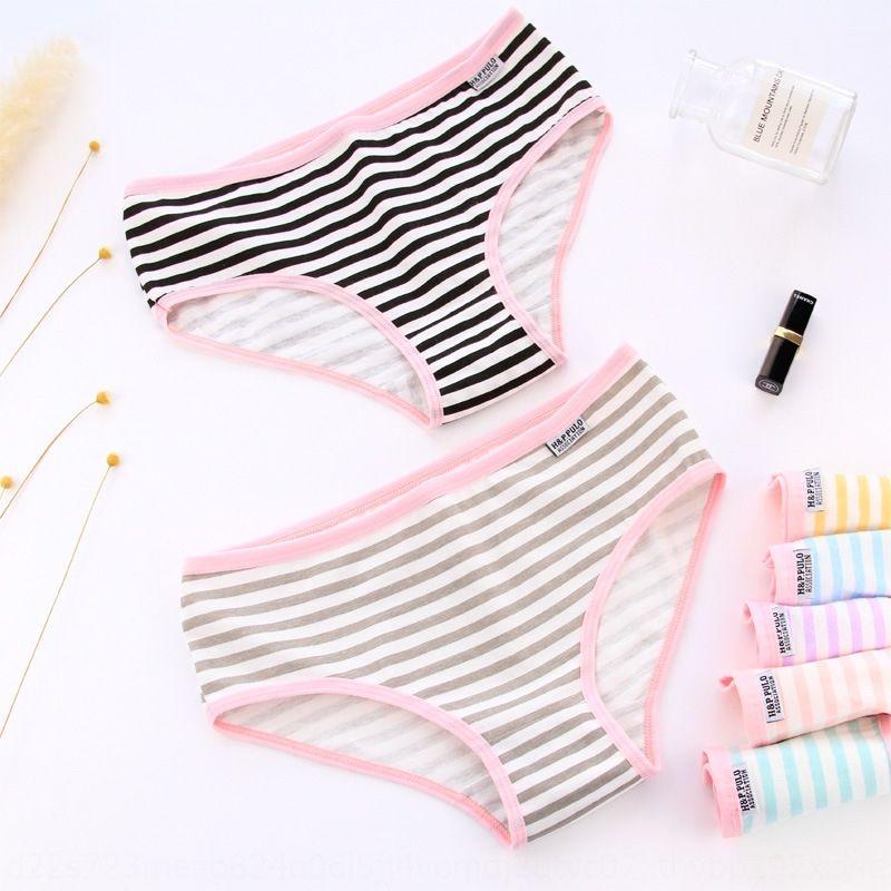 Strawberry communauté couleur à rayures fraise de style coton sous-vêtements féminins marine sous-vêtements mi-taille A001 Stripes féminine