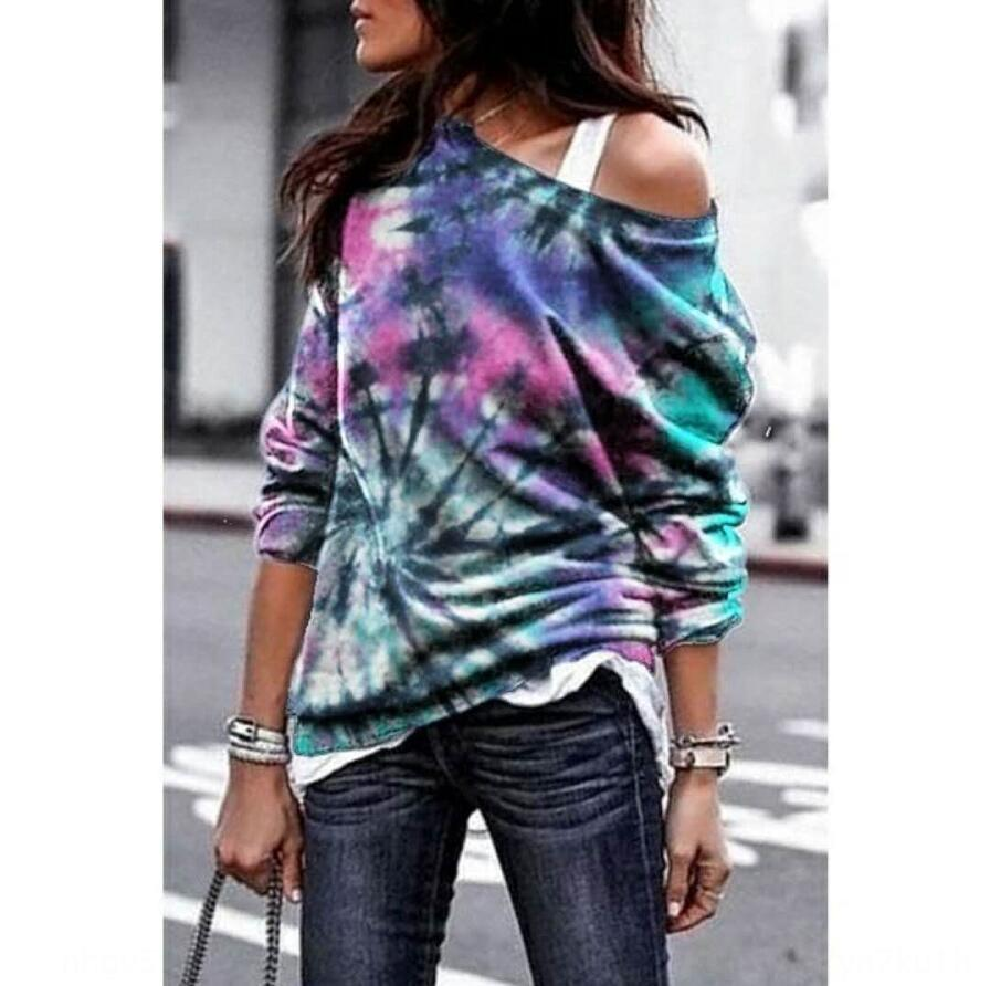 wrfpG 2020 otoño y el invierno de Nueva suelta de manga larga jersey camiseta teñida impresa suéter camiseta para las mujeres