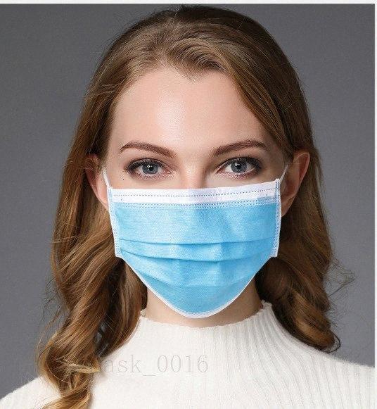 Antipoussière Prix à usage unique usine Ply 50 / 100pcs Masques Bleu pollution Nonwoven boucle d'oreille de couverture du visage 3 couches Facemasks L9YC #