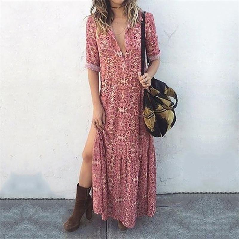 캐주얼 휴일 의류 여름 여자 섹시 분할 드레스 디자이너 여자 드레스 패션 꽃 인쇄 여성 드레스