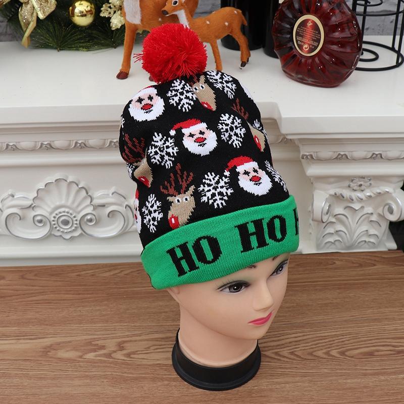 Decorações de Natal colorido desenhos de confecção de confecção de malhas levou chapéus Beanie Camisola Santa Hat iluminação de malha para Kid Adulto C
