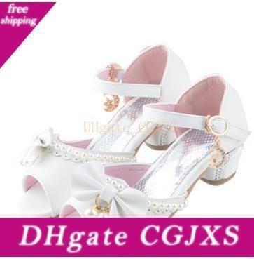 2019 Yeni Yaz Çocuk Ayakkabıları Enfants Çocuk Sandalet Çocuk Kız Düğün Ayakkabı Elbise Parti İnci Ayakkabı Bebek Kız Yumuşak Deri Prenses Sandal
